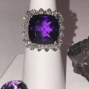 Solid 14K White Gold Amethyst Diamond Ring